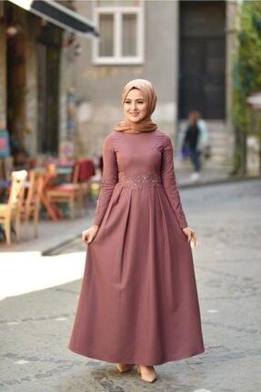Modamihram Dantelli Incili Tesettür Elbise Gül Kurusu 1