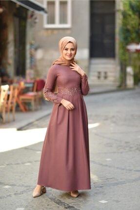 Modamihram Dantelli Incili Tesettür Elbise Gül Kurusu 2