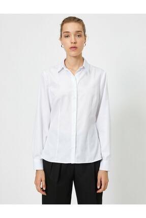 Koton Kadın Beyaz Klasik Yaka Gömlek 2