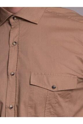 Dufy Bej Pamuklu Çıt Çıt Düğme Erkek Gömlek - Slım Fıt 1
