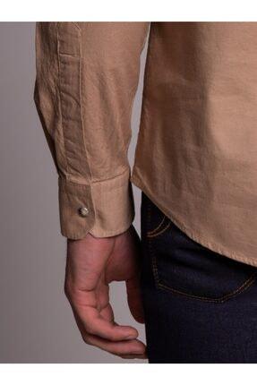 Dufy Bej Pamuklu Çıt Çıt Düğme Erkek Gömlek - Slım Fıt 3