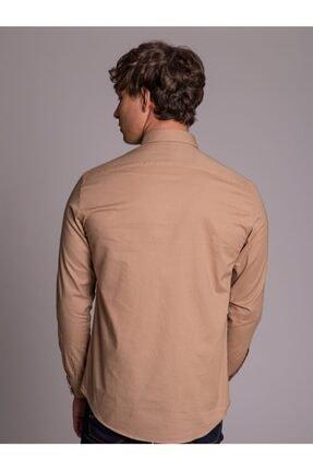 Dufy Bej Pamuklu Çıt Çıt Düğme Erkek Gömlek - Slım Fıt 4