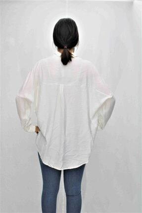 Swass Beyaz Renkte Taş Detaylı Gömlek 4
