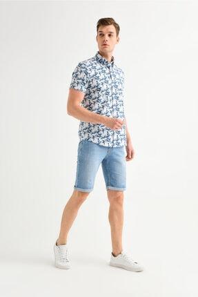 Avva Erkek Mavi Baskılı Alttan Britli Yaka Slim Fit Kısa Kol Gömlek A01y2083 3
