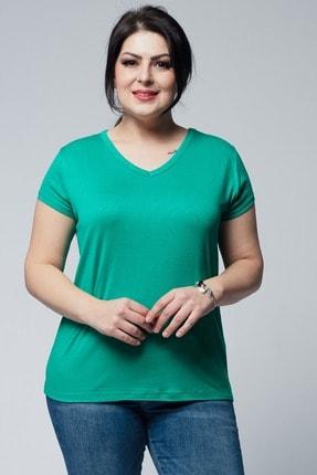 Ebsumu Kadın Büyük Beden V Yaka Basic Kısa Kollu Yeşil Tişört 1