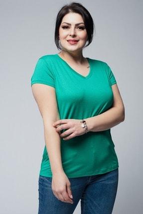 Ebsumu Kadın Büyük Beden V Yaka Basic Kısa Kollu Yeşil Tişört 2