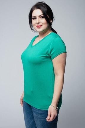 Ebsumu Kadın Büyük Beden V Yaka Basic Kısa Kollu Yeşil Tişört 3