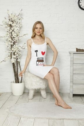 Tena Moda Kadın Beyaz Ip Askılı Nutella Baskı Gecelik Pijama 1