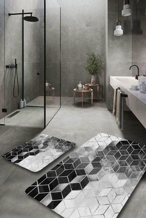 EVİMOD Silver Modern Yıkanabilir 2li Banyo Halısı Paspas Klozet Takımı X 0