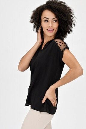 Jument V Yaka Puanlı Tül Detaylı Rahat Kesim Kısakol Şık Ofis Bluz - Siyah 3