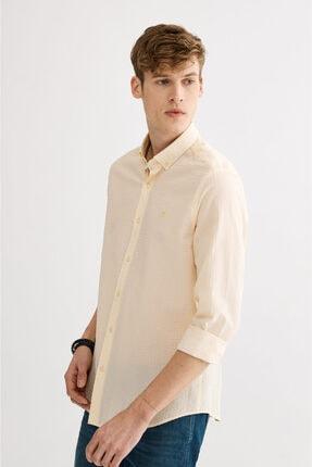 Avva Erkek Sarı Seersucker Düğmeli Yaka Slim Fit Gömlek A01s2225 1