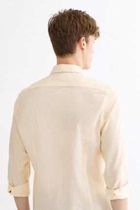 Avva Erkek Sarı Seersucker Düğmeli Yaka Slim Fit Gömlek A01s2225 2