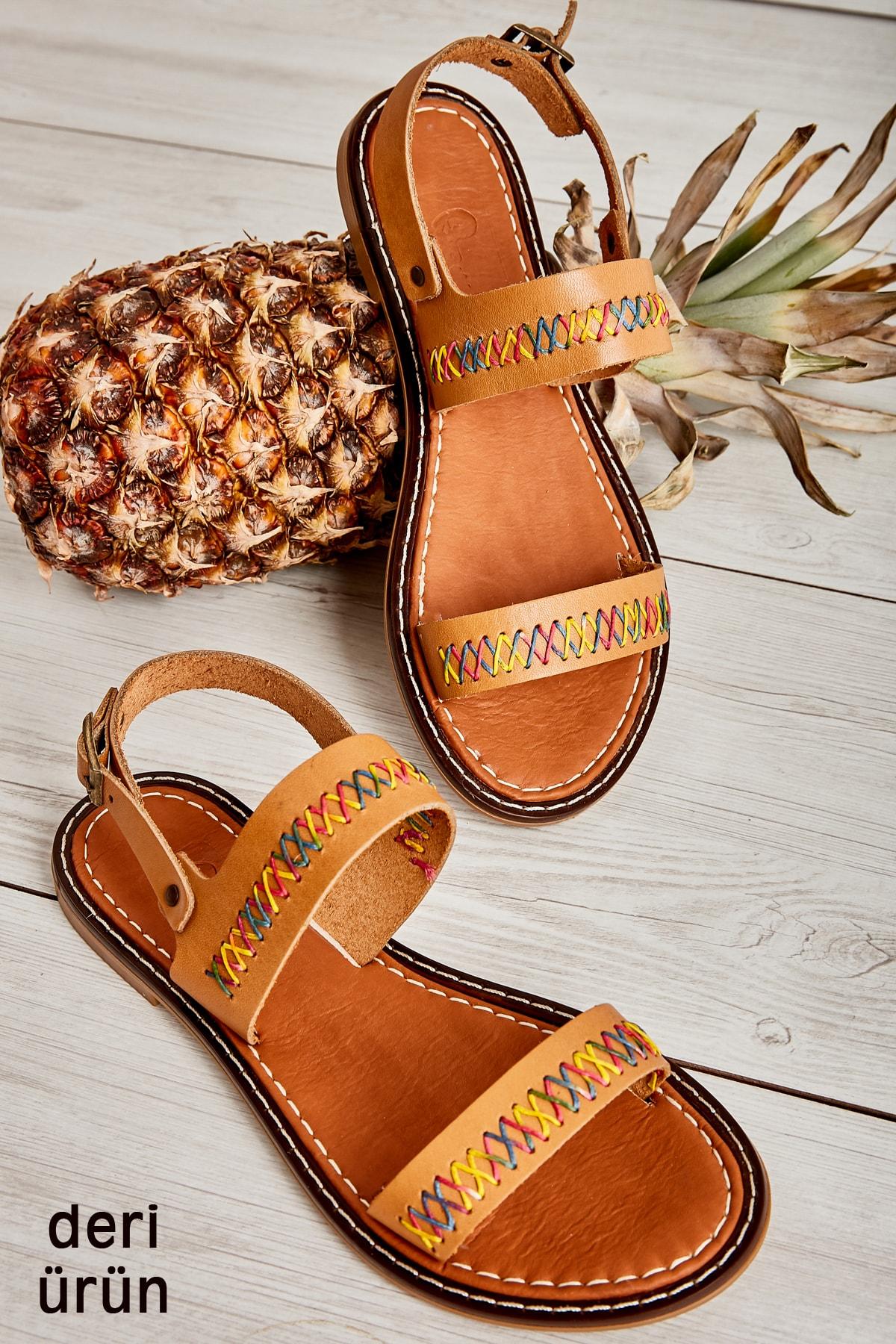 Hakiki Deri Taba Kadın Sandalet L0602809403