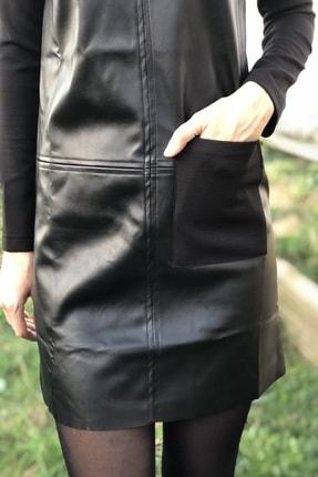Voila Butik Kadın Siyah Bisiklet Yaka Mini Elbise 1