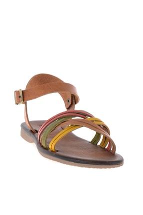 Bambi Hakiki Deri Sarı Yeşil Kadın Sandalet K05685161903 2