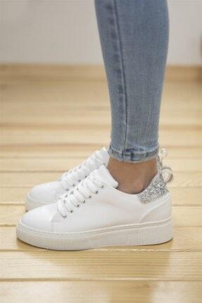 Straswans Papel Bayan Deri Cam Kırık Detaylı Spor Ayakkabı Beyaz-gümüş 0