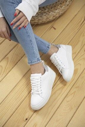 Straswans Papel Bayan Deri Cam Kırık Detaylı Spor Ayakkabı Beyaz-gümüş 1