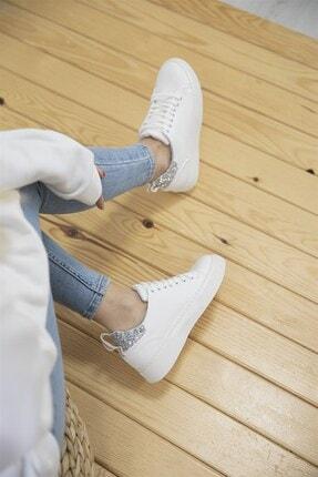 Straswans Papel Bayan Deri Cam Kırık Detaylı Spor Ayakkabı Beyaz-gümüş 2