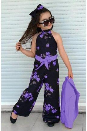 Riccotarz Kız Çocuk Fashion Flowers Mor Ceketli Tulum 1