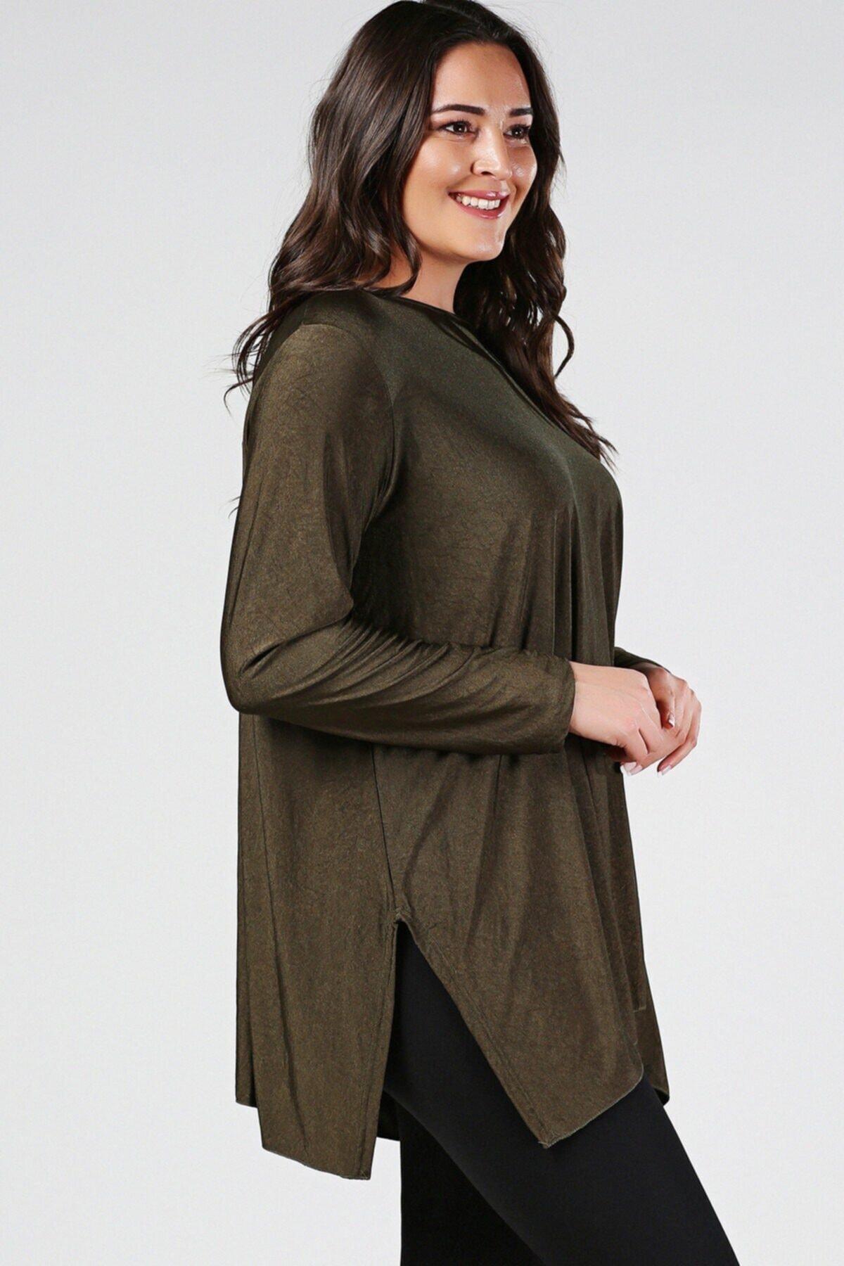 Womenice Büyük Beden Haki Yırtmaçlı Uzun Kol Bluz