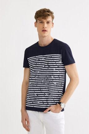 Avva Erkek Lacivert Bisiklet Yaka Çizgi Baskılı T-shirt A01s1261 0