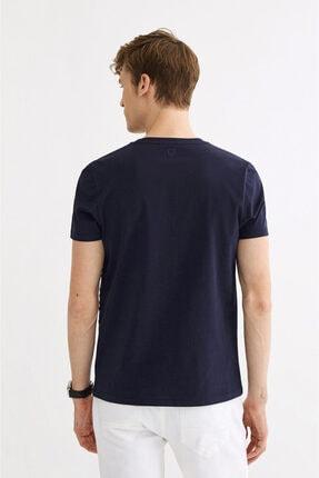 Avva Erkek Lacivert Bisiklet Yaka Çizgi Baskılı T-shirt A01s1261 2