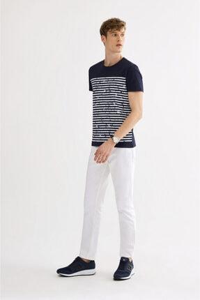 Avva Erkek Lacivert Bisiklet Yaka Çizgi Baskılı T-shirt A01s1261 3