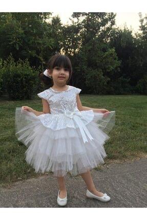 Buse&Eylül Bebe Beyaz Pul Payet Kız Çocuk Elbisesi 1