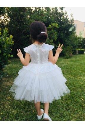 Buse&Eylül Bebe Beyaz Pul Payet Kız Çocuk Elbisesi 2