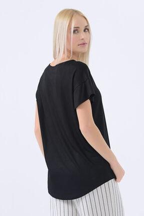 Gusto Yuvarlak Yakalı T-shirt - Siyah 1