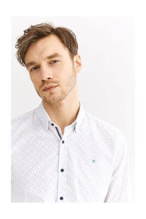 Avva Erkek Beyaz Baskılı Alttan Britli Yaka Slim Fit Gömlek A01s2235 0