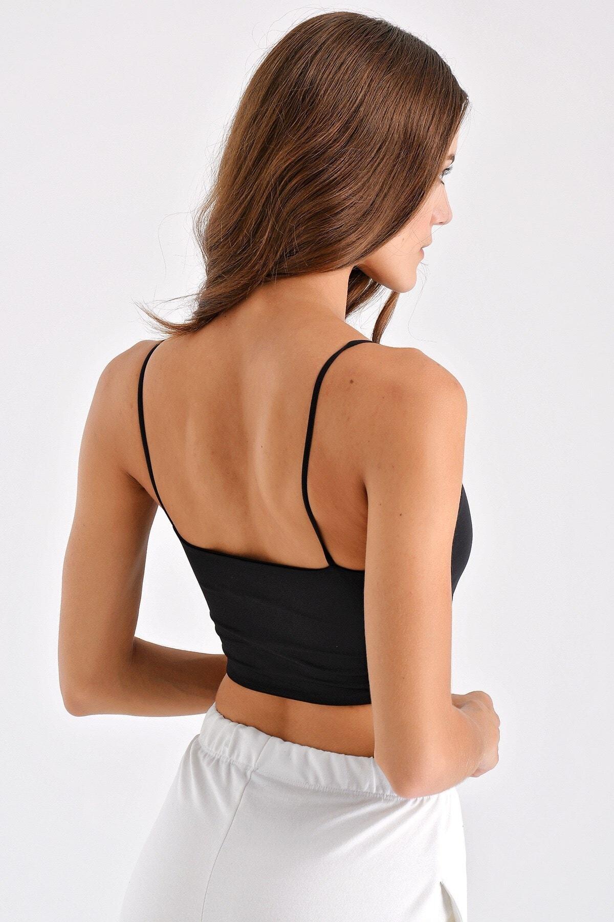 Jument Kadın Ip Askılı Kısa Bluz - Siyah