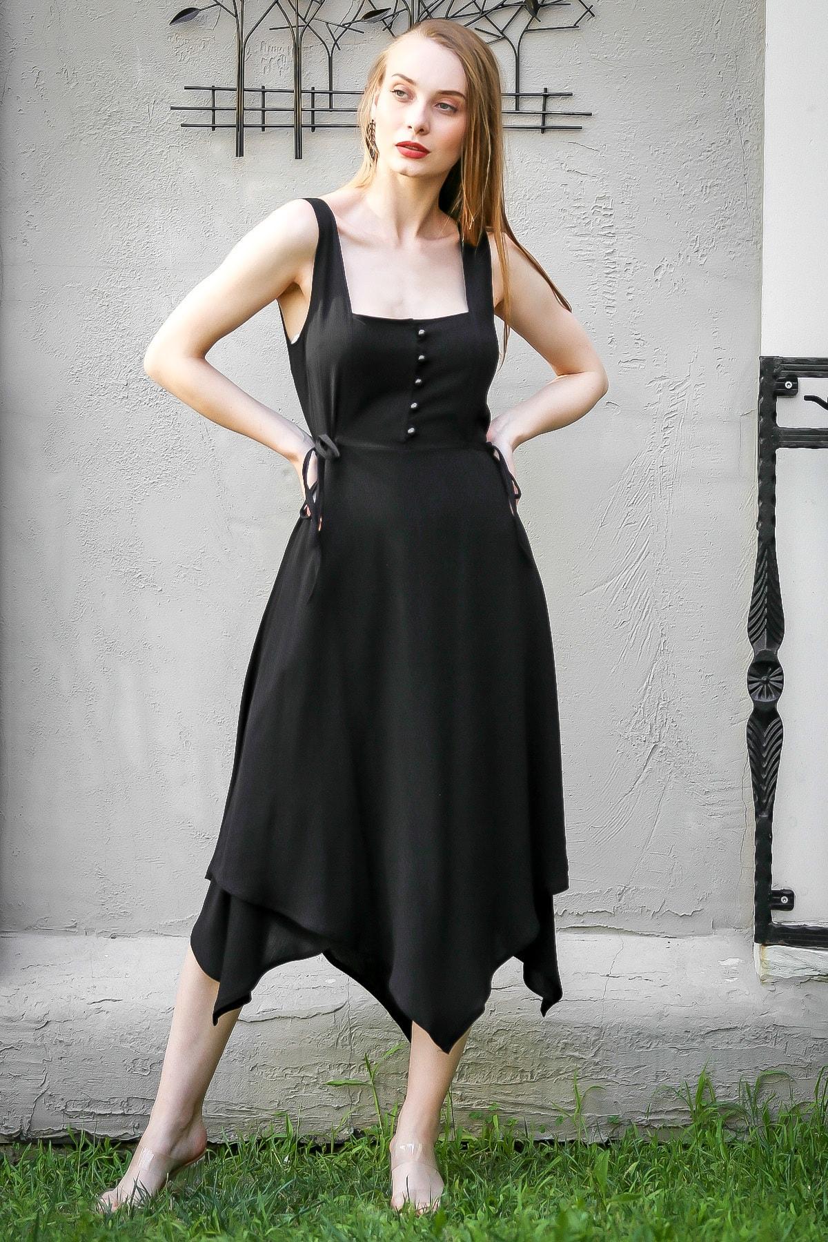 Vintage Düğme Detaylı Asimetrik Elbise