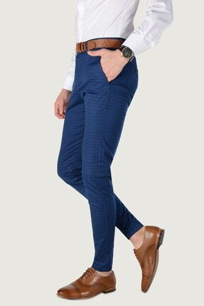 Terapi Men Erkek Ekoseli Slim Fit Keten Pantolon 20k-2200262 Lacivert 0