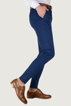 Terapi Men Erkek Ekoseli Slim Fit Keten Pantolon 20k-2200262 Lacivert 1