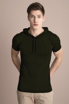 Tena Moda Erkek Haki Kapüşonlu Düz Tişört 0