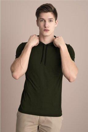Tena Moda Erkek Haki Kapüşonlu Düz Tişört 4