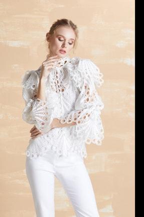 Serpil Kadın Ekru Güpür Gömlek 32365 0