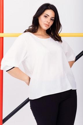 Kadın Beyaz Büyük Beden Manşetli Bluz resmi