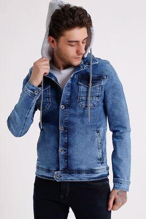 تصویر از Erkek Çıkarılabilir Kapüşonlu Random Yıkamalı Mavi Kot Ceket