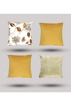 Markimo Home Hardal Sarı Çiçekli Kombin Kırlent Yastık Minder Kılıfı 4 Adet 45x45cm 0