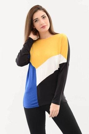 DressFine Bisiklet Yaka Renk Bloklu Uzun Kol Bluz Sarı-beyaz-saks-siyah 3