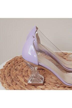 TRENDWOMAN Kadın Mor Şeffaf Taşlı Topuklu Ayakkabı 1