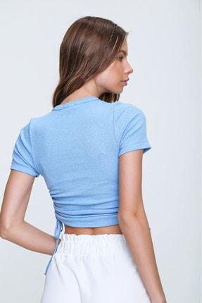 Trend Alaçatı Stili Kadın Mavi Yanı Büzgülü Kaşkorse Bluz ALC-X6078 3