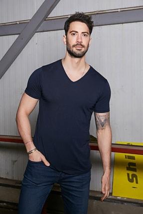Sateen Men Erkek Lacivert Kısa Kol V Yaka T-Shirt 1