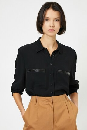 Koton Kadın Deri Detaylı Gömlek 0