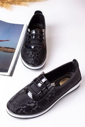 Lal Shoes & Bags Kadın Siyah Areca Parlak Ayakkabı 1
