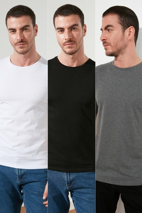 TRENDYOL MAN Çok Renkli Erkek Basic Slim Fit 3'lü Paket T-Shirt  TMNSS19BO0007 0
