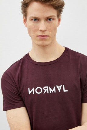 Koton Erkek Bordo Şarap T-Shirt 0