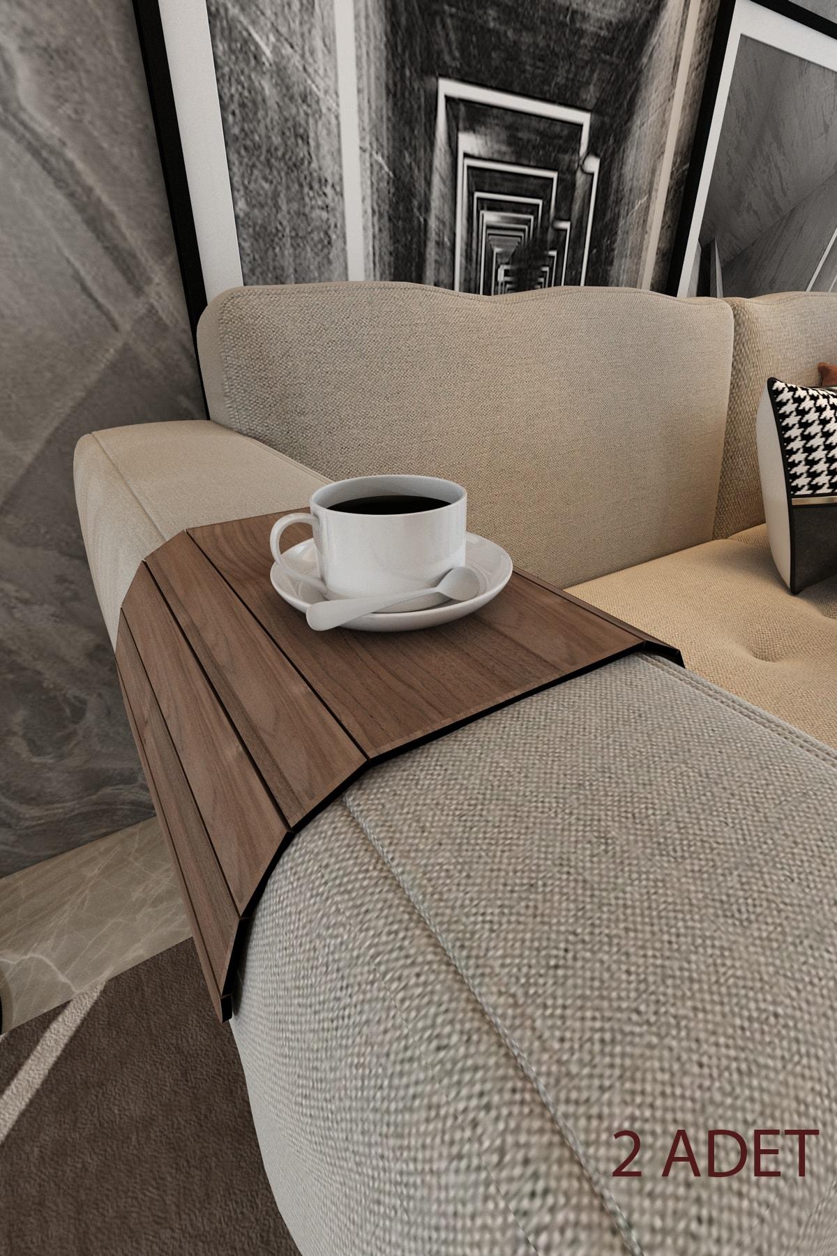 Koyu Kahve Koltuk Tepsisi 2 Adet Yan Sehpa Tesbih Cevizi 25x45 Cm Ortasabit 15,8 Cm Amerikan Servisi